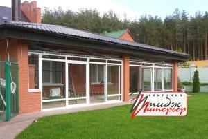 Окна раздвижные ПВХ система Патио вид с участка