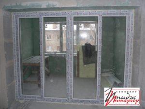 Перегородка с раздвижными дверьми из ПВХ